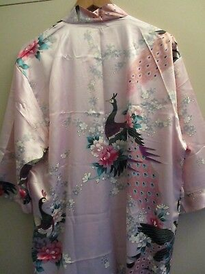 Vintage Pretty Vietnamese Pink Peacock  Dressing Gown  Excellent Condition