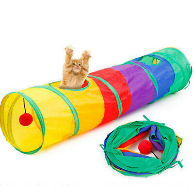 1 Funny Tunnel Tent Agility Cat Training Folding Pet Agility Play Toys HC