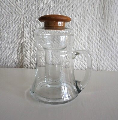 Retro Dolphin Water Jug with Ice Insert and Teak Lid as found