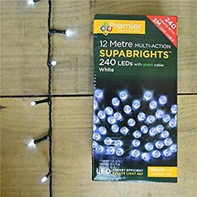 240 Led Multi-Action Indoor-Outdoor Supabrights Ice White 12M + 3M Lead Cable