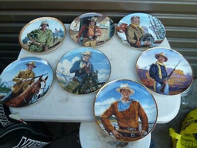 7 John Wayne Plates  Franklin Mint Limited Edition Collectible