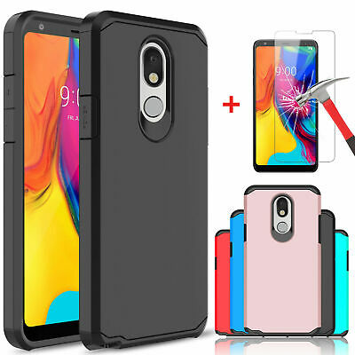 For LG Stylo 4/4+/4 Plus Armor Case Cover With Tempered Glass Screen Protector