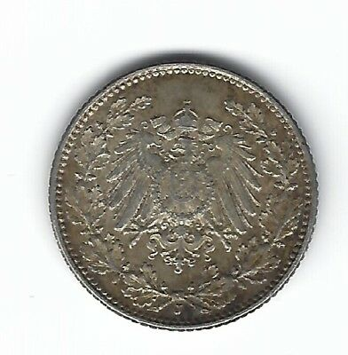 Germany ½ Mark 1905 J Hamberg Choice Condition Beautiful Tone