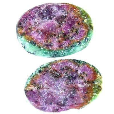 16.30Cts 100% Natural Designer Ruby In Zoisite Druzy Oval Pair Cabochon Gemstone
