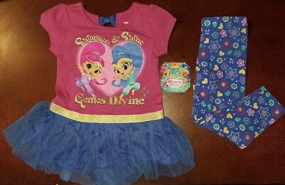 Shimmer and Shine Toddler Girl Genies Divine Shirt & Leggings Outfit New 2T