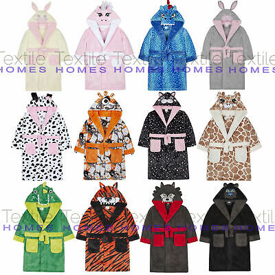 Kids Girls Boys Bath Robe Animal Unicorn Dressing Gown Fleece Night Lounge Wear