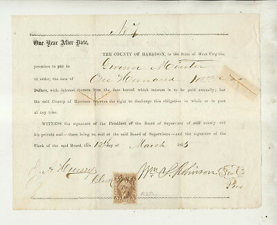 1865 Promissory Note County Of Harrison West Virginia To Guinn Minter Document