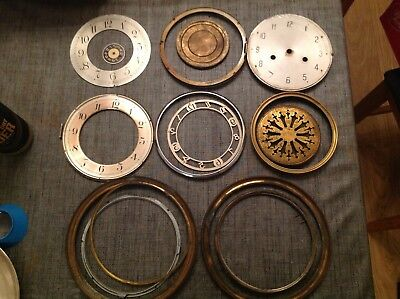 Antique Clock Spare Parts dials faces Bezel Frames Cases Dust Cover Backs