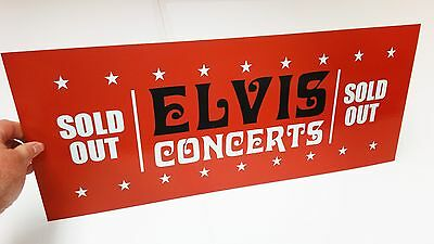 ELVIS SOLD OUT VEGAS '70's International Hotel Box Office Banner Sign Pennant