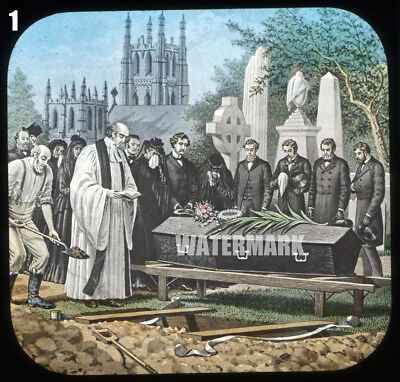 3 Magic Lantern Slides: Death Bed, Wake in the Living Room, Funeral in Graveyard