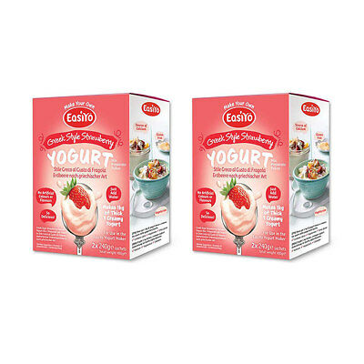 EasiYo Greek Style Strawberry - 2 Boxes of 2 Sachets - Best Before Feb 2020
