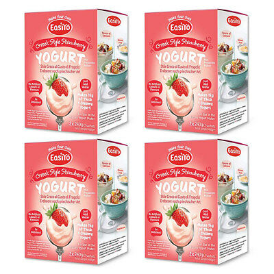 EasiYo Greek Style Strawberry - 4 Boxes of 2 Sachets - Best Before Feb 2020