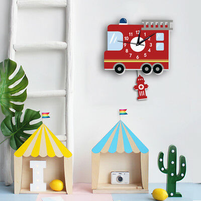 Cartoon Pendulum Fire fighting truck Wall Clock Children's Bedroom Decoration uk