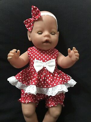 Dolls Clothes Made To Fit 42cm (med)Baby Born Doll.  3 piece Set