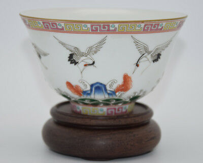 A104 Rare Chinese Porcelain Bowl Red-crowned Crane Wave Pattern Mark GuangXu