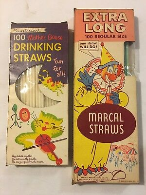 Vtg Lot Paper Straws (Sweetheart Mother Goose & Extra Long Marcal Circus)