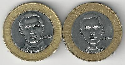 2 BI-METAL 5 PESO COINS from the DOMINICAN REPUBLIC - 1997 & 2008 (2 TYPES)