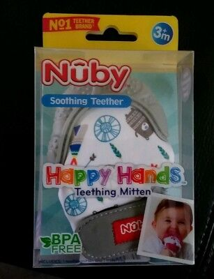 Nuby Soothing Teether Happy Hands Teething Mitten with Hygienic Travel Bag Grey