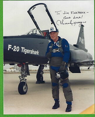 TEST PILOT GENERAL CHUCK YEAGER AUTOGRAPHED PHOTO YEAGER w F-20 TIGERSHARK