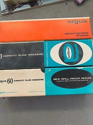 Lot of 3 Argus 60 Capacity Slide Magazine Tray Vintage (A150)