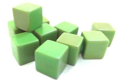 """VINTAGE LOT 10 FACTORY BLANK CATALIN CUBES Light Green 1/2"""" square by Bakelite"""