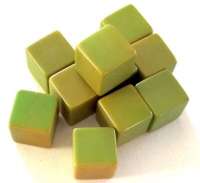"""VINTAGE 10 FACTORY BLANK CATALIN CUBES Light Green 5/8""""(14mm)square by Bakelite"""