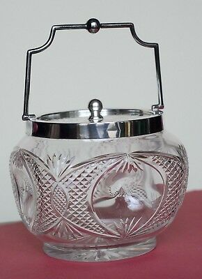 Antique Victorian Blown & Cut Crystal Bisquit / Cracker Jar, S.p. Lid & Handle