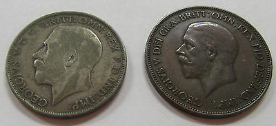 Lot of 2 Great Britain Coins 1923 One Florin and a Nice 1934 Large Cent