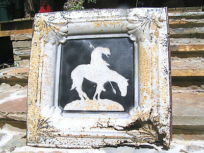 Antique Ceiling Tin Recycled Western Art End of the Trail j4