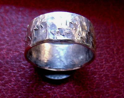 OLD WORLD HAMMERED 925 SILVER VIKING RING SIZE 10,   1/3 of oz. 10g, Ring shown