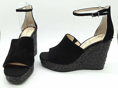 b625f8ddb17 Jessica Simpson Suella Women Shoes Espadrille Wedge Ankle Strap Suede Black  9 M