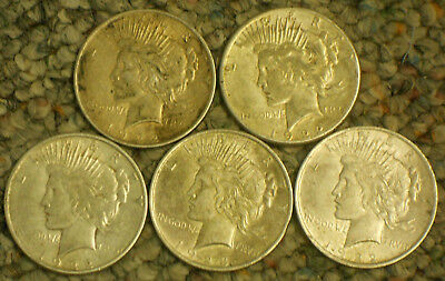 Lot of 5 Silver Peace Dollars.