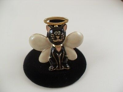 Black Angel Cat Brooch, White sparkle wings