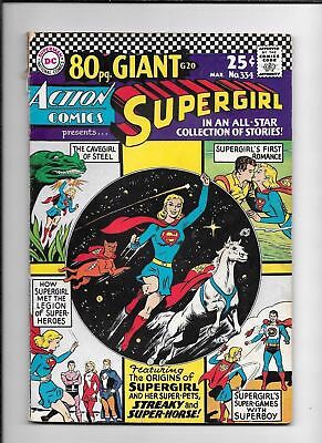 Action Comics #334 ==> Fn 80 Page Giant Supergirl Origin Issue Dc Comics 1966