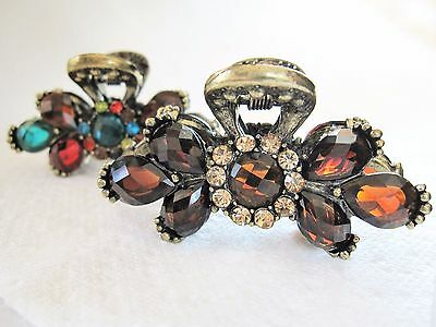 Jeweled small antique style bronze gold metal hair claw clips with crystals
