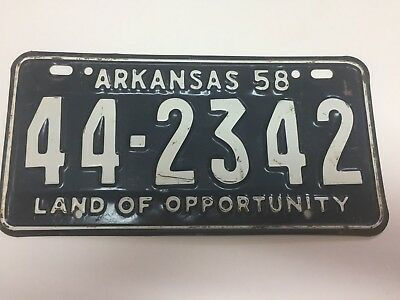 1958 Arkansas Vintage License Plate In Very Good Condition!   Collector Quality!