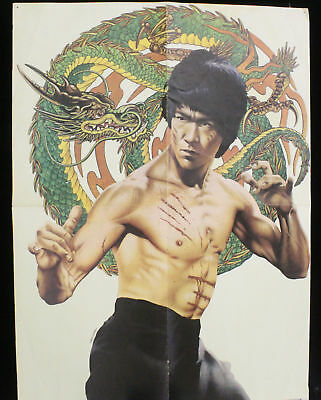 70888ebe244 Vintage 1974 Enter the Dragon Movie Magazine Poster Bruce Lee 18.5