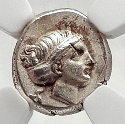 MYTILE Greek LESBOS Island 377BC Electrum Ancient Coin Possib SAPPHO? NGC i72405