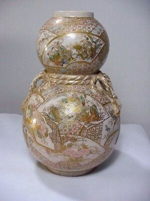 Japanese Double Gourd Vase -- Old & Rare, Densely Decorated Gold Gilt Cartouches
