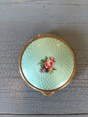 Antique Guilloche Enamel Powder Compact With Mirror Blue With Flowers