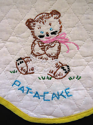 Vintage Baby Infant Bib Hand Embroidered Quilted Brown Bear Pat A Cake EUC