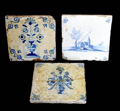 Antique group of 3 18th 19th century blue and white tiles