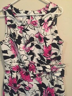f6cca1c600f Women s Helene Berman London England Dress 10 Black Pink Floral Bow  Sleeveless