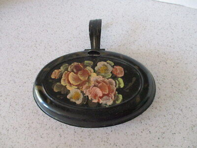 Antique Hand-Painted Tin Toleware Silent Butler Or Crumb Catcher, Oval