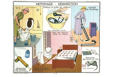 Old Fashioned Women's Cleaning Postcard - French Language Nettoyage Desinfection