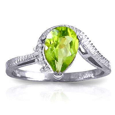 1.52 Carat 14K Solid White Gold Outstretched Hand Peridot Diamond Wedding Ring