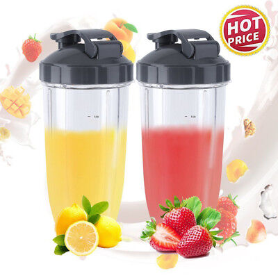2Pack 24oZ Nutribullet Pro 600/900w Blender Tall Colossal Mug Cup Flips Top Lids