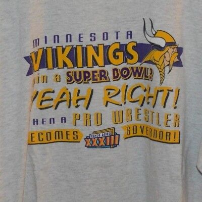 Mens True Vintage Minnesota Vikings Governor Super Bowl T-Shirt 3XL Champion 90s