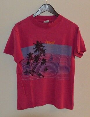 Mens True Vintage 80's Hawaii Palm Trees Paradise Graphic T-Shirt Medium *AS IS*