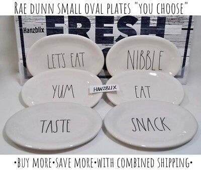 """RAE DUNN Oval Plates EAT LET'S EAT TASTE CHEESE SNACK """"YOU CHOOSE"""" NEW '19"""